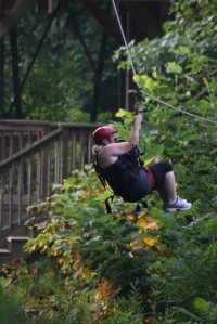 I think I spent most of my time backwards on all of the zip lines. . .