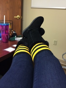 Rocking the bumble bee socks before the game